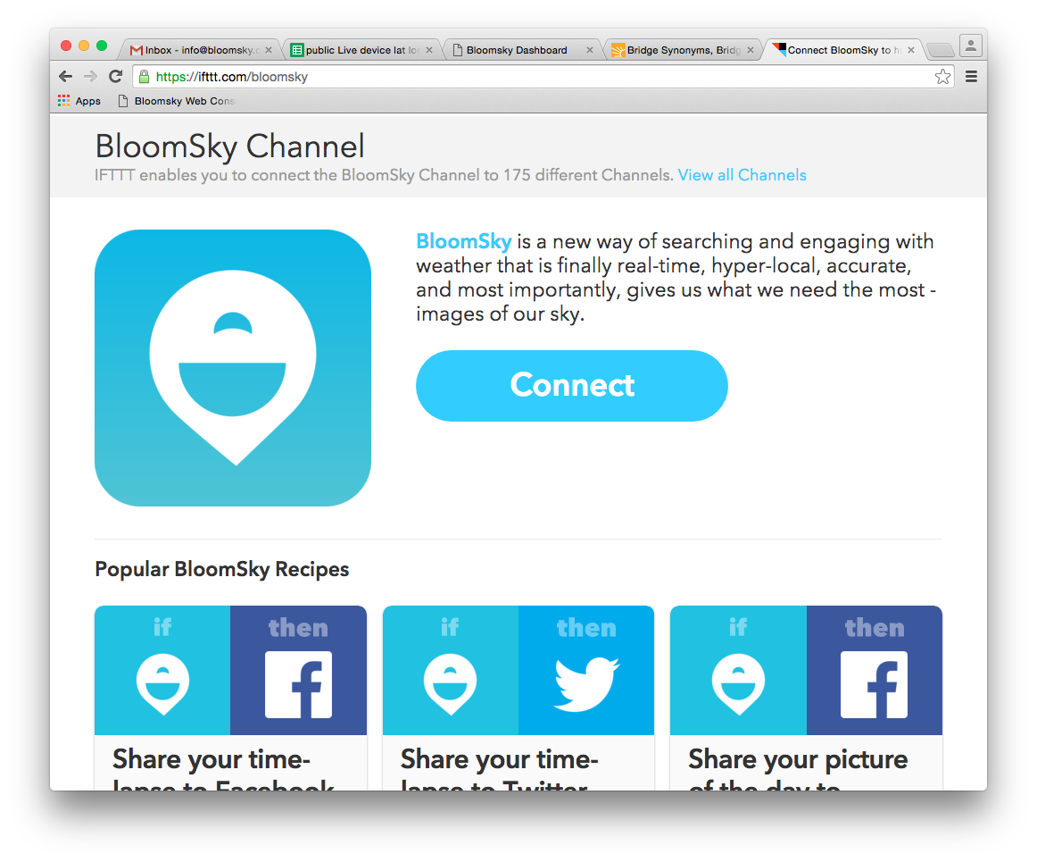 BloomSky and IFTTT: if [BloomSky] then [that] - The